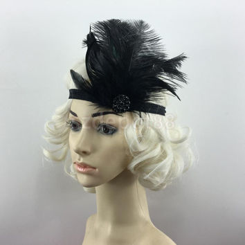 Pitch Black Feather Flapper Dress Costume Hairband Bridal Headpiece 1920's