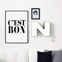 C'est Bon, Inspiring Quote, French Quote, French Poster, Black And White, It Is Good, Typography Poster,Fashion Wall Art, Modern Poster