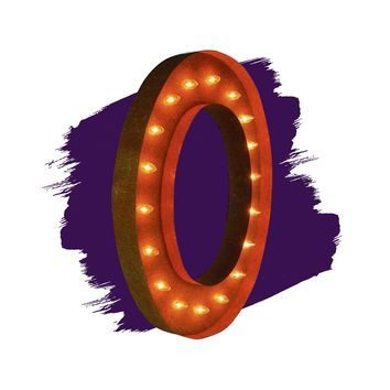 """36"""" Letter O Lighted Vintage Marquee Letters (Rustic)"""