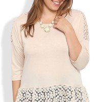 Plus Size Three Quarter Sleeve High Low Top with Daisy Crochet Trim