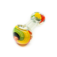Mini Glass Spoon Pipe with Rasta Colors - Handblown - 3 Inches