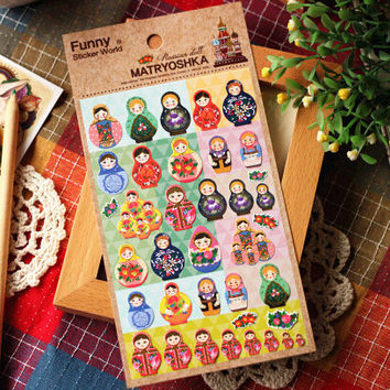 Cute Russian Girls Decorative Stickers Mobile Phone Stickers Stationery DIY Scrapbooking Album Stickers