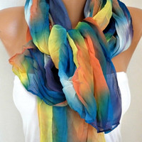 Rainbow Batik Scarf Spring Summer Shawl Mother's Day Gift Chiffon Ombre Cowl Scarf Gift Ideas for Her Women Fashion Accessories Beach Wrap