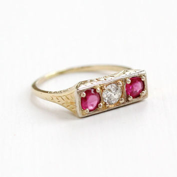 Antique 14K Yellow Gold Diamond and Created Ruby Ring - Vintage Art Deco 1920s Size 5 1/2 Engagement Fine Filigree Jewelry