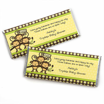 Triplet Monkeys Neutral - Personalized Baby Shower Candy Bar Wrapper Favors