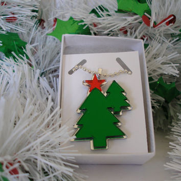 Christmas necklace Two Trees With Red Mirrored Star  shiny mirrored acrylic  pendant