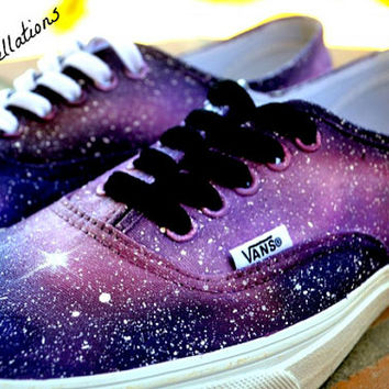 Custom Painted Galaxy Shoes Pink and Purple (You Mail Me Your Shoes)