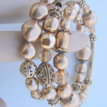 Vintage Liz Claiborne Rose Wrap Filigree Bead Necklace / Designer Signed / Jewelry / Jewellery
