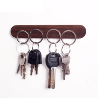 Wall logs key ring wood storage hooks