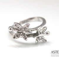 Elegant ring - Delicate ring - Butterfly ring - Girls silver ring - Cubic zirconia ring - Small ring - Little ring