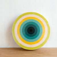 Target Circle Art Block - Green, Yellow, Blue Bull's Eye