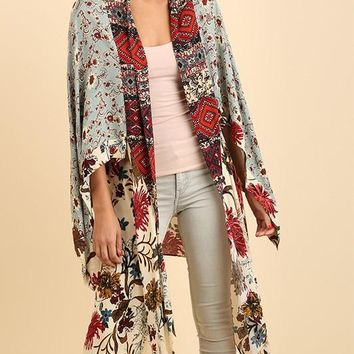 Floral Multicolored Long Kimono Cardigan