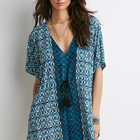 Abstract Print Tasseled Mini Dress