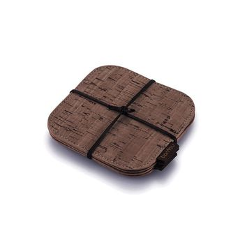 Cork Fabric Coasters, set of 4. Dark Brown.
