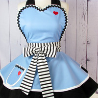 Enchanted Alice Apron for Tea Time in Alice Blue -- Made to Order