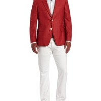 Tommy Hilfiger Men's Trim Fit Seasonal Washed Linen Sport Coat, Red Solid, 46 Regular