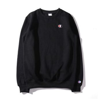 Champion Loose Round Neck Embroidery Sweater