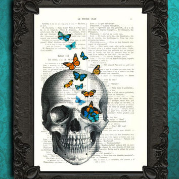 Skull with Butterflies - upcycled French dictionary art print - Mixed media book page dictionary print