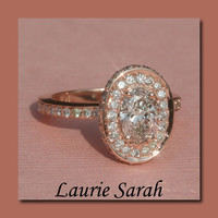 14kt Rose Gold Oval Diamond Engagement Ring by LaurieSarahDesigns