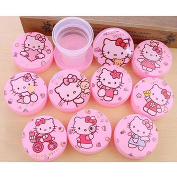 2 Pcs Kawaii Hello Kitty Pink Portable Stretch Cup Cartoon Magic Folding Cup Kids Novelty Travel Outdoor Milk Tea Cups Tooth Mug