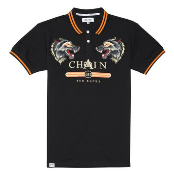 Chain Gang 10 Rack Emb W/Wolf Patch Polo