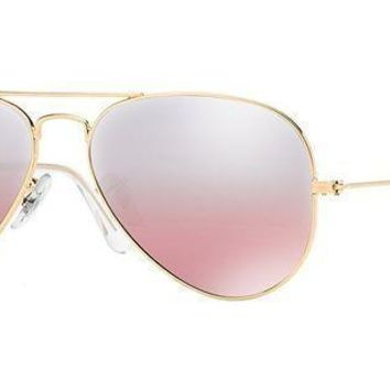 Onetow Ray Ban Women's Aviator Rb3025 001/3e Gold Frame/pink Mirror Lens 62 Mm Non Polarized Sunglasses