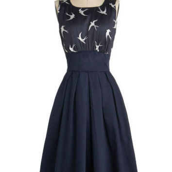 Emily and Fin The Polite Pairing Dress in Birds | Mod Retro Vintage Dresses | ModCloth.com