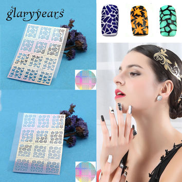1 Sheet Airbrush Nail Art Paint Sexy Tips French Rose Flower Nail Manicure Full Nail Decal Sticker Floral Guides Stencil Designs