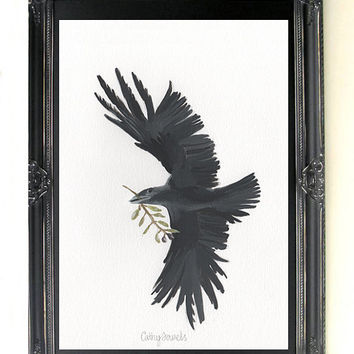 Crow Bird Print - Flying Crow with Olive Branch Reproduction Print from Original Oil Painting