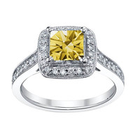 White gold 14K 1.51 carats yellow canary RADIANT halo diamond anniversary ring
