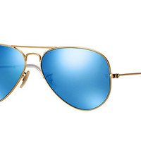 Ray Ban Aviator Matte Gold Blue Polarized Mirrored RB 3025 112/4L