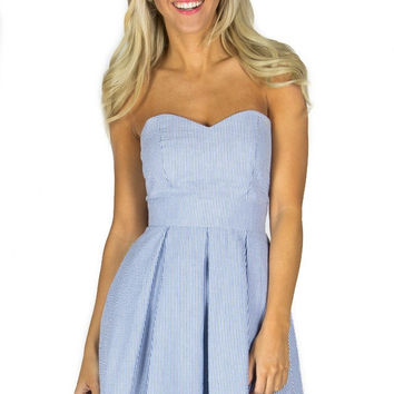 Lauren James Corbin Seersucker Dress in Navy