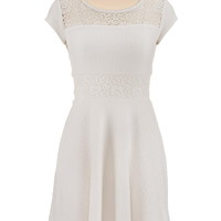 cap sleeve textured lace dress