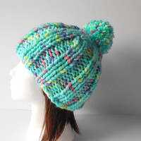 Pom Pom Hat Beanie  hand knit women's hat St. Patrick's Day Green hat chunky hat with pom pom Ribbed Hat Warm winter cap soft fitted hat