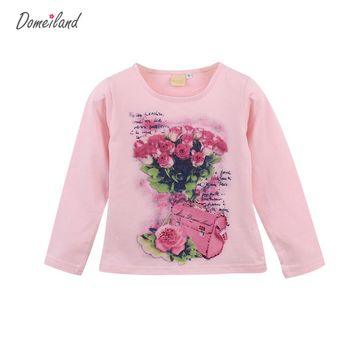 Fashion 2017 brand domeiland Kids Girls Clothing For Long Sleeve Shirts Print Vintage baby Floral Tops Rhinestone  Kids Clothes