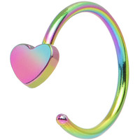 "20 Gauge 5/16"" Rainbow IP Stainless Steel Darling Heart Nose Hoop 