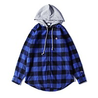 Champion Woman Men Fashion Tartan Top Sweater Pullover Hoodie