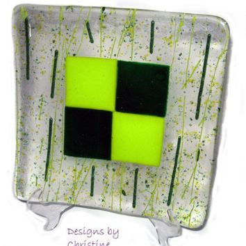Fused Glass Plate - Green Plaid Sushi Dish