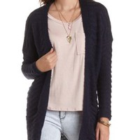 Wavy Stitch Duster Cardigan Sweater by Charlotte Russe