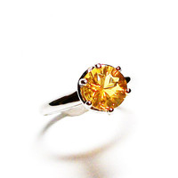 "Fire opal, fire opal ring, engagement ring, fire yellow, solitaire ring, yellow, s 10  ""Smoldering Love"""