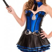 Alluring Sergeant Stunner Costume 8720, Blue Black S M L, very cheap sexy lingerie, cheap sexy costume, cheap halloween costume - Halloween Costumes HotSaleWear.Com