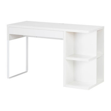 MICKE Desk with integrated storage - white  - IKEA