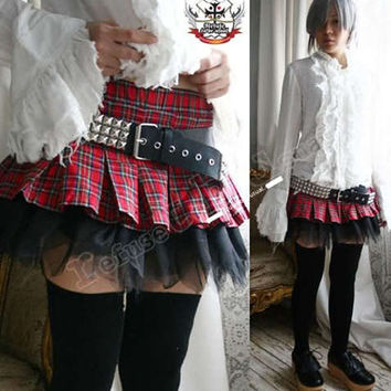 AVRIL Punk Puffy Pleated Mini Skirt / bloomers Red Tartan