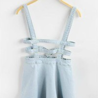 cut out all in one denim circle skirt dress  from mancphoebe