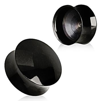 Black PVD Plated Convex Hollow Saddle Plug
