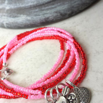 Anklet - Red, Pink Bead Ankle Wrap With Stretch Bead Toe Ring