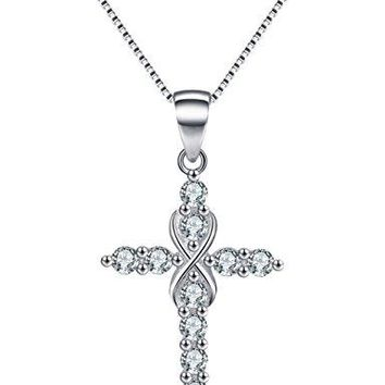 SHIP BY USPS: Infinity Cross Necklace Sterling Silver Cubic Zirconia Religious Jewelry Pendant Simulated Diamond