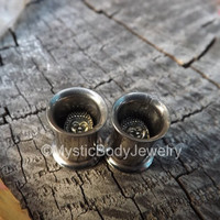 Buddha Ear Tunnels 0g Pair Plugs Gauge Stainless Steel Gauges Stretched Double Flare Copper Plug Flair Tunnel Hindu Earrings Jewelry Fashion