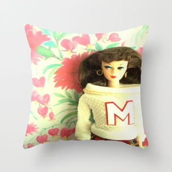 Cheerleader Throw Pillow by Vintage  Cuteness