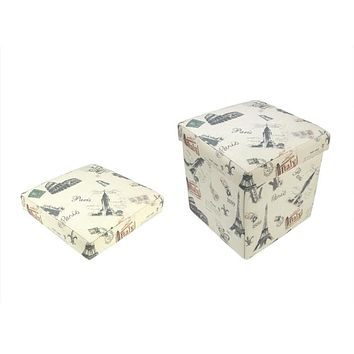 """12"""" Decorative Vintage-Style Italy Travel Inspired Collapsible Square Storage Ottoman"""